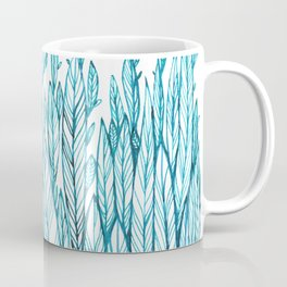 pattern of blue leaves, grass, feathers Coffee Mug