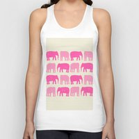 nursery Tank Tops featuring Pink Elephant Nursery Print by OldRedCanoe