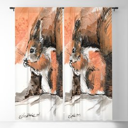 Red Squirrel Blackout Curtain