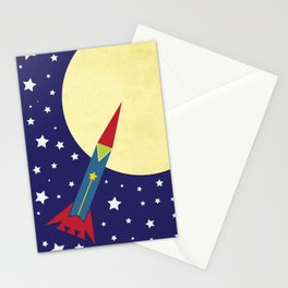 Rocket To The Moon Stationery Cards