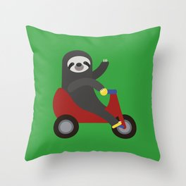 Sloth on Tricycle Throw Pillow