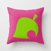 animal crossing Throw Pillows featuring Animal Crossing Summer Leaf by Rebekhaart