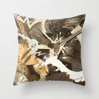 folk Throw Pillows featuring Folk vs. Metal by Logan  Faerber