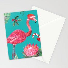 Santa Flamingo Christmas, Holiday Tropical Watercolor Stationery Cards