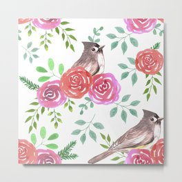 Roses and Tufted titmouse watercolor Metal Print