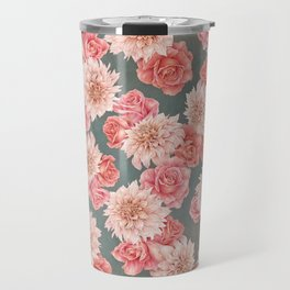 Roses&Dahlias pattern Travel Mug