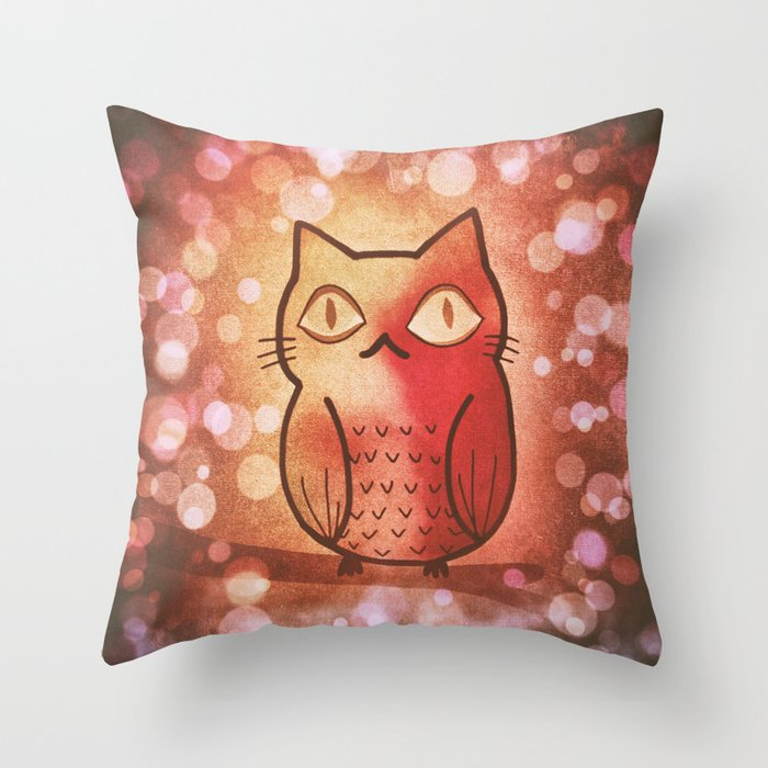 cat in owl 594 Throw Pillow