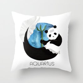 Panda Zodiac Aquarius Throw Pillow