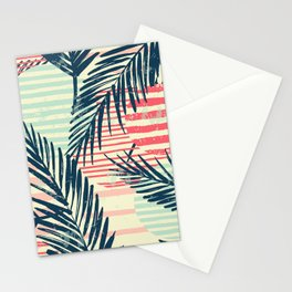 Geometric Scandinavian Stripes in Pastel with Palm Leaves Stationery Cards