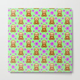 Funny cute little meditating relaxed chilling zen sloths and pretty pink spring flowers white sunny bright green pattern. Gifts for sloth and nature lovers. Nursery ideas. Metal Print