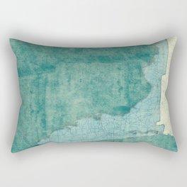 Florida State Map Blue Vintage Rectangular Pillow