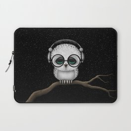 Cute Baby Owl Dj with Headphones and Glasses Laptop Sleeve