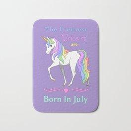 Pretty Rainbow Unicorns Are Born In July Bath Mat