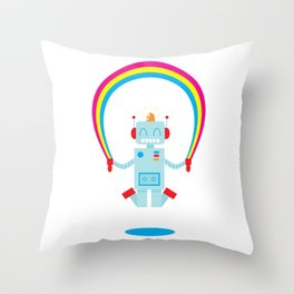Skipping a Rainbow Throw Pillow