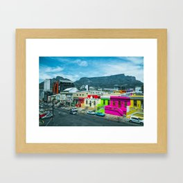 Bo-Kaap and Table Mountain in Cape Town Framed Art Print