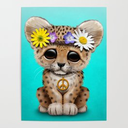 Cute Baby Leopard Cub Hippie Poster