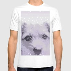 Curious little dog waiting for you - funny dog portrait Mens Fitted Tee MEDIUM White