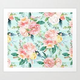 Minty Vintage Floral Art Print