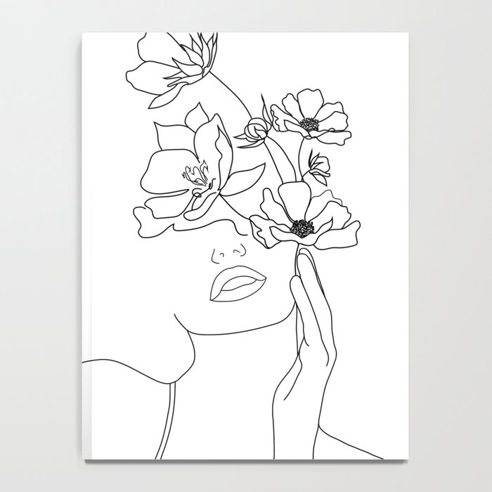 Minimal Line Art Woman with Flowers Notebook