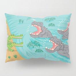 Crocodiles and Hippos Pillow Sham