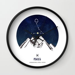 Astrology Pisces Zodiac Horoscope Constellation Star Sign Watercolor Poster Wall Art Wall Clock