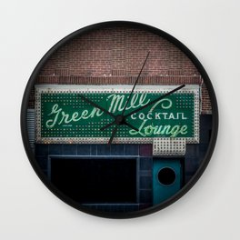 Green Mill Cocktail Lounge Vintage Neon Sign Uptown Chicago Wall Clock