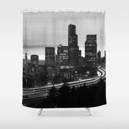 Seattle Skyline Sunset City - Black and White Shower Curtain