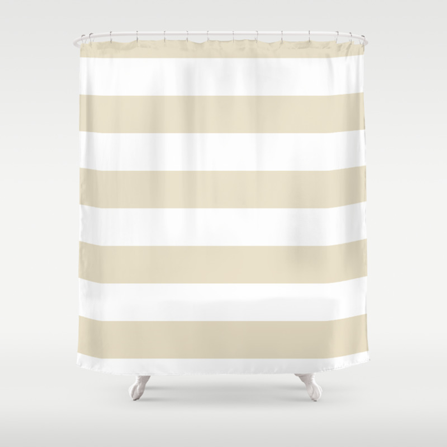 Horizontal Stripes White And Pearl Brown Shower Curtain