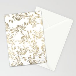 Vintage white faux gold roses floral Stationery Cards