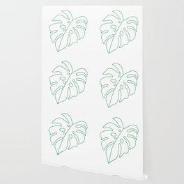 Green Plant Monstera Leaf   One Line   Minimal Art Wallpaper