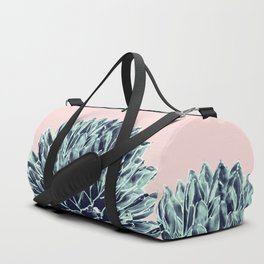 Blush Navy Blue Agave Chic #1 #succulent #decor #art #society6 Duffle Bag