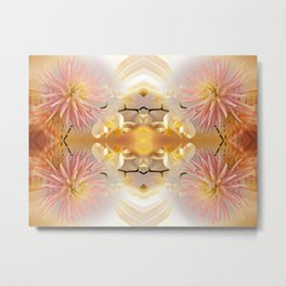 Dahlias and Orchids flowers in reflect Metal Print