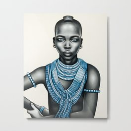 Tribal girl with Mohawk Metal Print