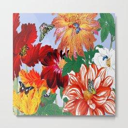 Dazzlin' Dahlias, Tulips, B'flies Metal Print