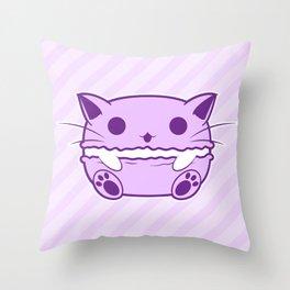 Purple Kawaii Cat Macaroon Throw Pillow