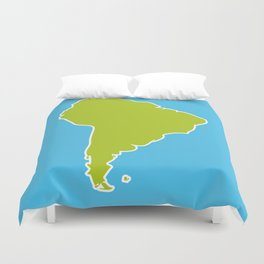 South America map blue ocean and green continent. Vector illustration Duvet Cover