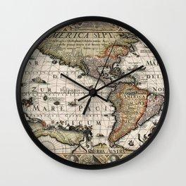 Map Of America 1614 Wall Clock