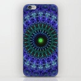 Detailed mandala in dark blue tones iPhone Skin