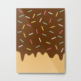 Donut with Chocolate icing and Sprinkles Metal Print