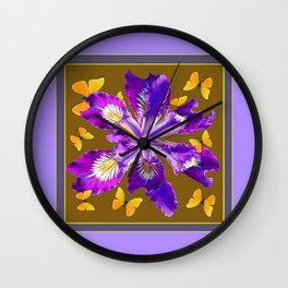YELLOW BUTTERFLIES PURPLE IRIS COFFEE BROWN  Art Wall Clock