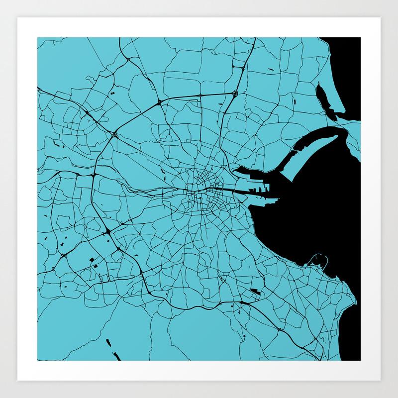 Dublin Ireland Turquoise on Black Street Map Art Print by mapmaker on