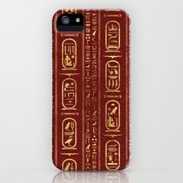 Egyptian hieroglyphs Gold on Red Leather iPhone Case