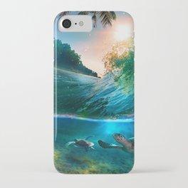 Palm Tree - Waves - Turtles - Beach - Ocean iPhone Case