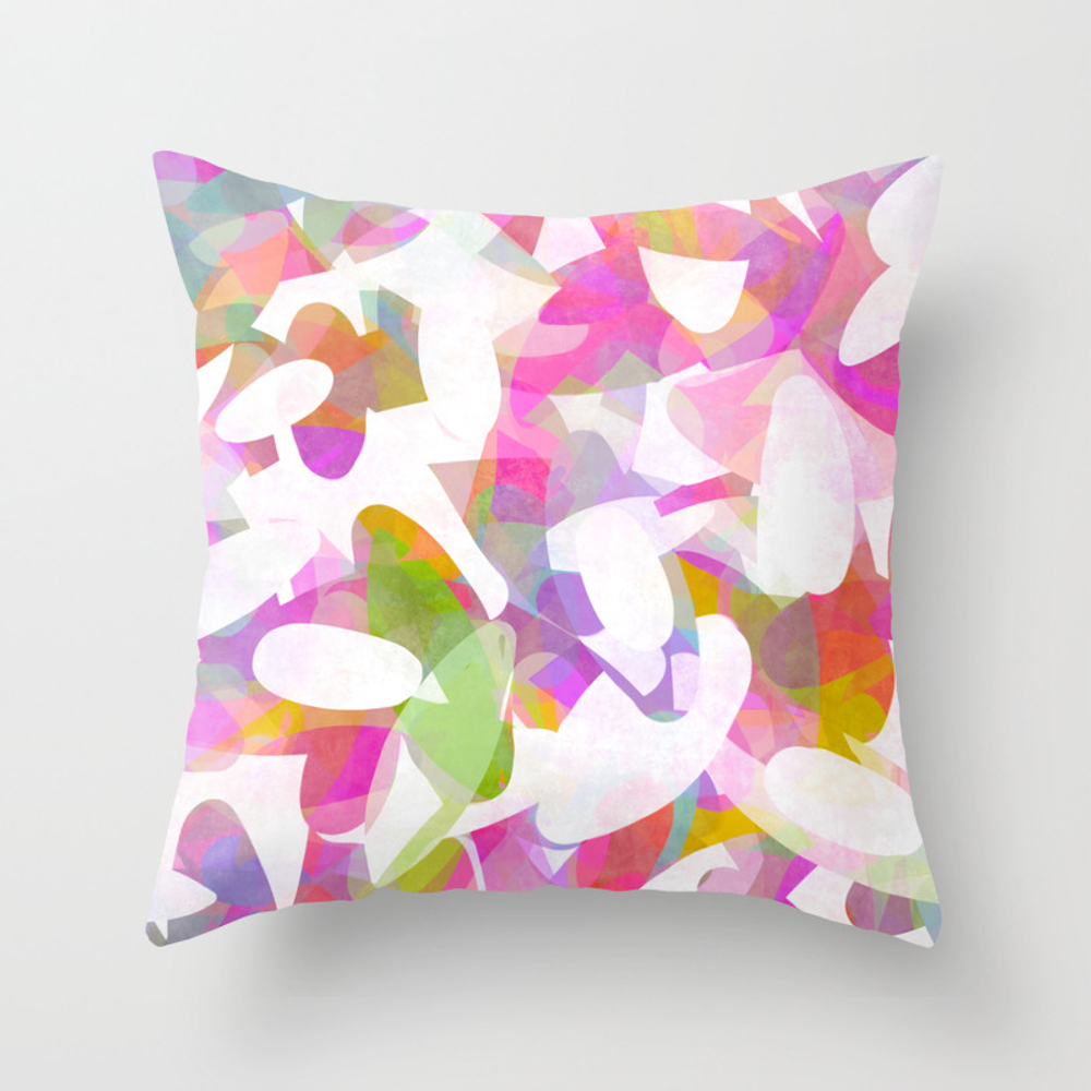Multicolour Watercolor Spring Abstract, White On O… Throw Pillow by Limolida PLW8995790