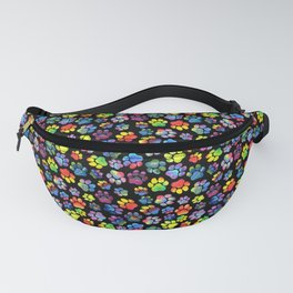 Rainbow Paw Print Watercolor Pattern Fanny Pack