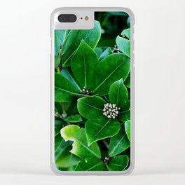 Green with White Flowers Clear iPhone Case