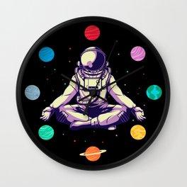 Retro Yoga Astronaut Meditates In Space Wall Clock
