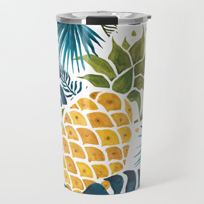 Golden pineapple on palm leaves foliage Travel Mug
