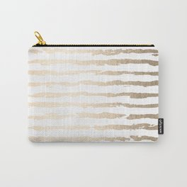 Simply Brushed Lines White Gold Sands on White Carry-All Pouch