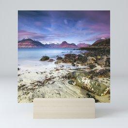 Beach Scene - Mountains, Water, Waves, Rocks - Isle of Skye, UK Mini Art Print